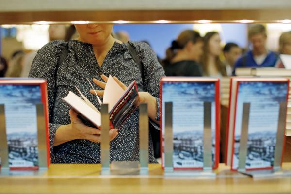 Browsing books at the Frankfurt Book Fair